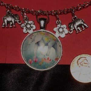 "19"" Lily Elephant Necklace"